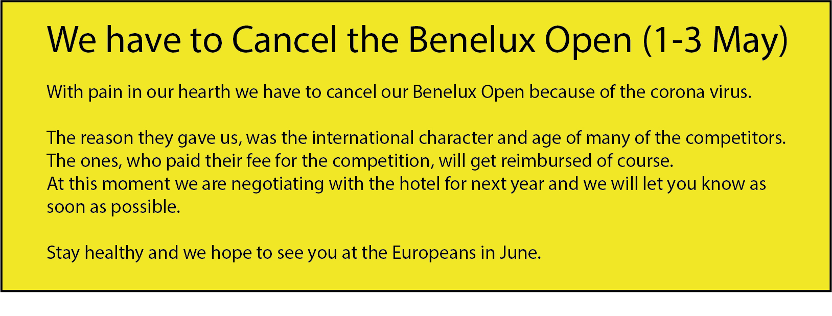 Open Benelux 2020 Canceled